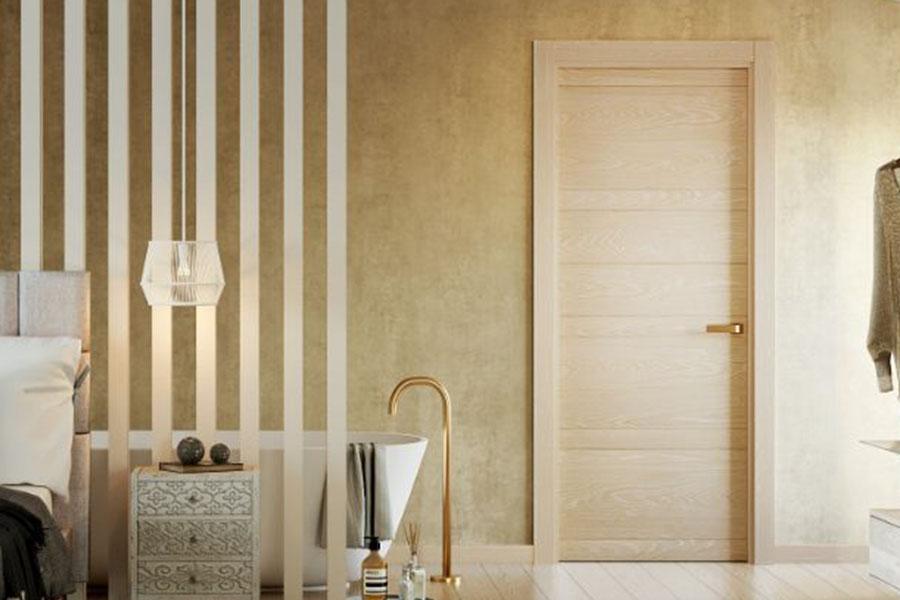 puerta con acadabo de madera natural para reforma de piso